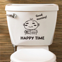 Colorcasa wholesale vinyl toilet sticker baby face toilet decoration waterproof wall sticker removeable wall sticker(ZY344)