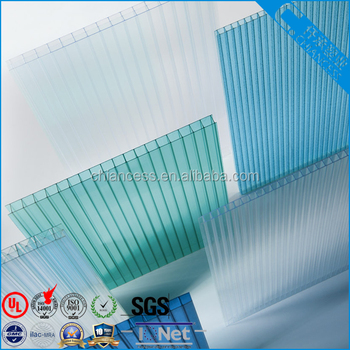 6mm Polycarbonate Hollow Sheet Twin-wall PC Sheet for 10years guarantee
