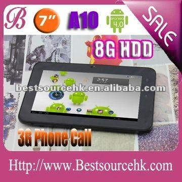 High quality 7.0 inch tablet Android4.0 build 3G tablet capacity tablet pc5 points touch screensupport wifi dual camera