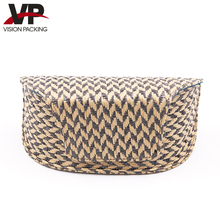 New product vintage large woven PU leather sunglasses case with magnet