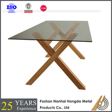 high end glass top wooden base dining table