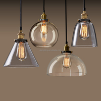 bar club American style vintage industrial bedroom 3 lights clear glass ball hanging light pendant