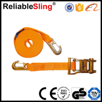 CE GS ISO Orange heavy duty tow straps with hooks for off road recovery strap