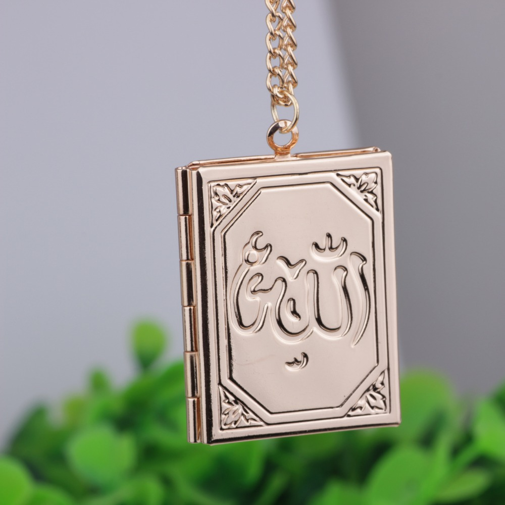 Allah Locket The Muslim Book Locket Pendant Necklace With Chain Silver Muhammad Islamic Quran Koran Box Wholesale Jewelry