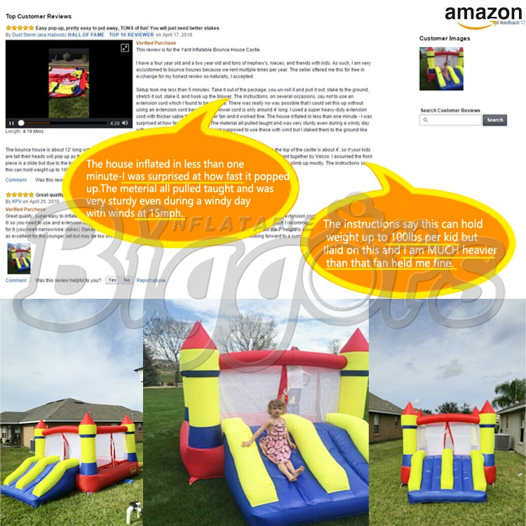 YARD Attraction Amusement Playing Inflatable Slide Castle Bouncer for Children