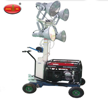 High power mobile light tower with diesel generator