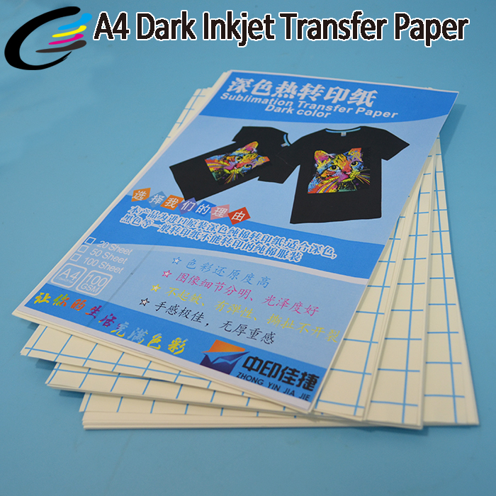 Wholesale Inkjet Dark Heat Transfer Paper A4 for 100% COTTON T-Shirt Printing