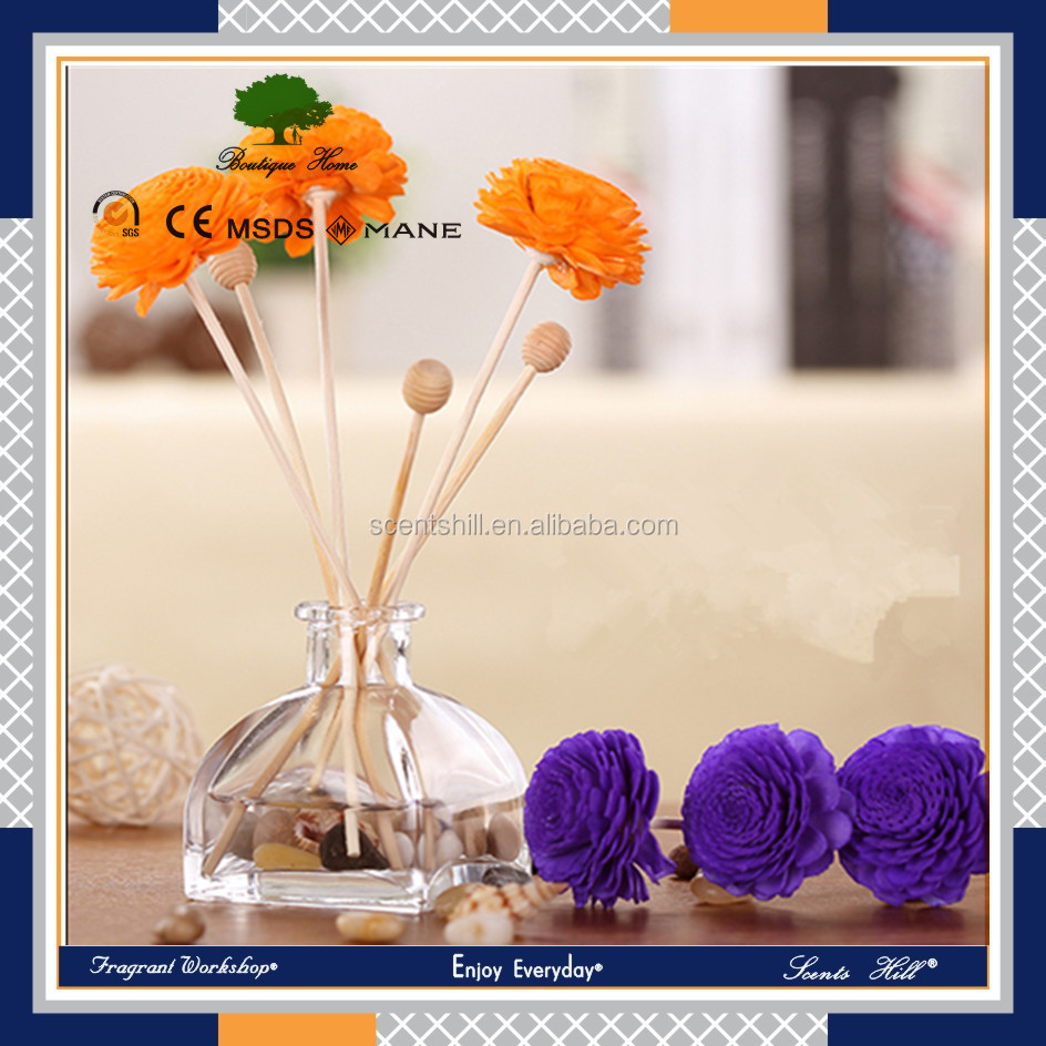 High quality ocean scent 80ml glass bottle beautiful dry flower reed diffuser