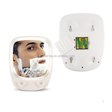 Battery lighted fogless shower mirror for shaving with magnifying