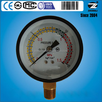 factory price 75mm bottom type bourdon tube black steel case pressure gauge
