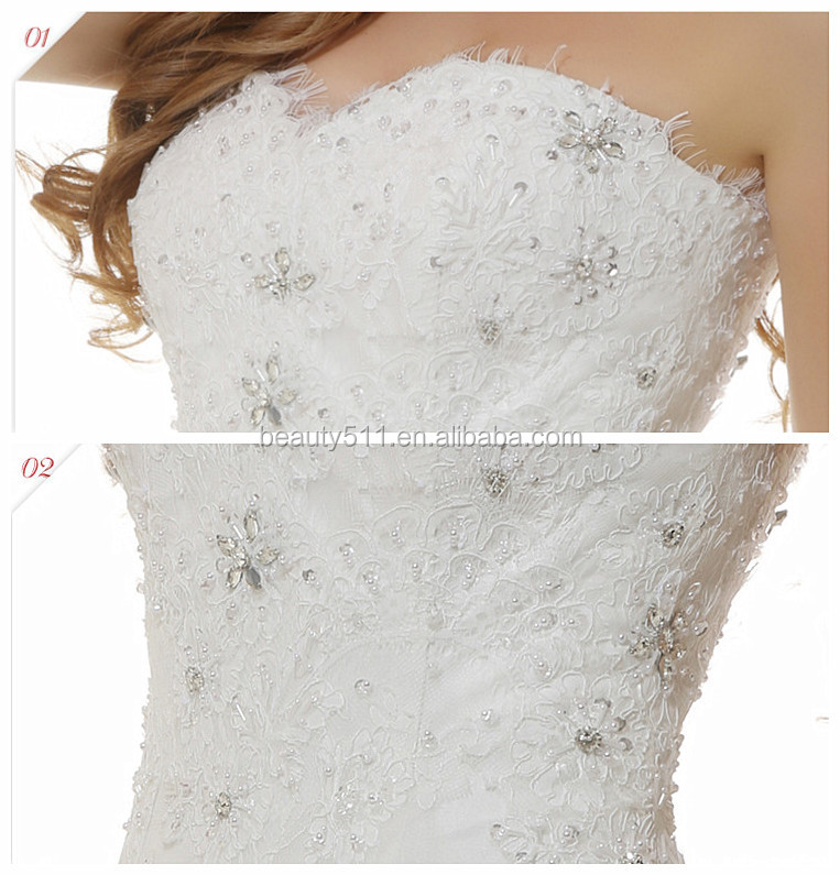 A-line Sweetheart Sleeveless Floor-length Sweep train lace wedding dresses gowns WD1622