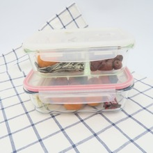 High quality square round rectangle glass food storage containers with compartments CE certificate