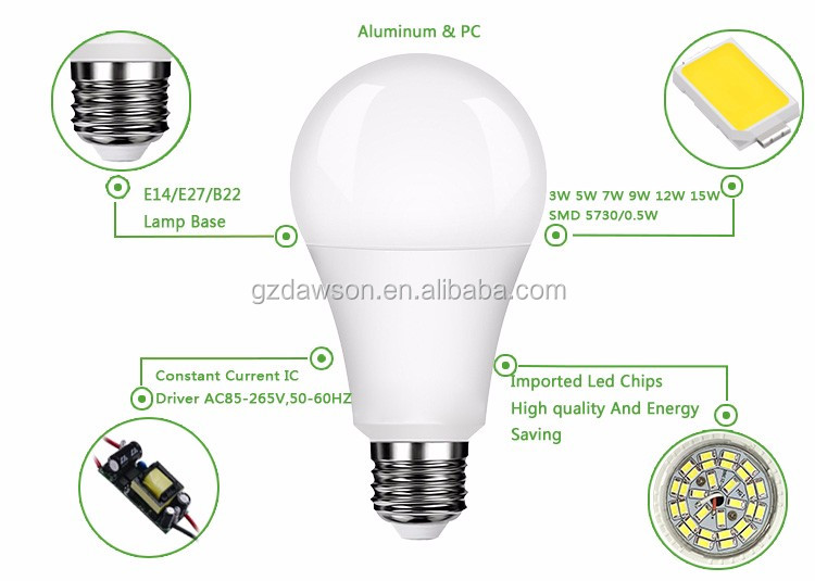Alibaba Top 1 Dawson Aluminum Alloy OEM 3W 5W 7W 9W 12W housing China Led Bulb E27 E14 led bulb