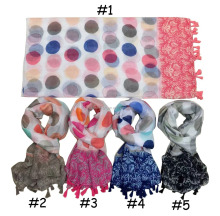 Fashion spring modern stylish wholesaler womans poncho pareo beach shawl print cashew leaf big dot tassels unique scarf