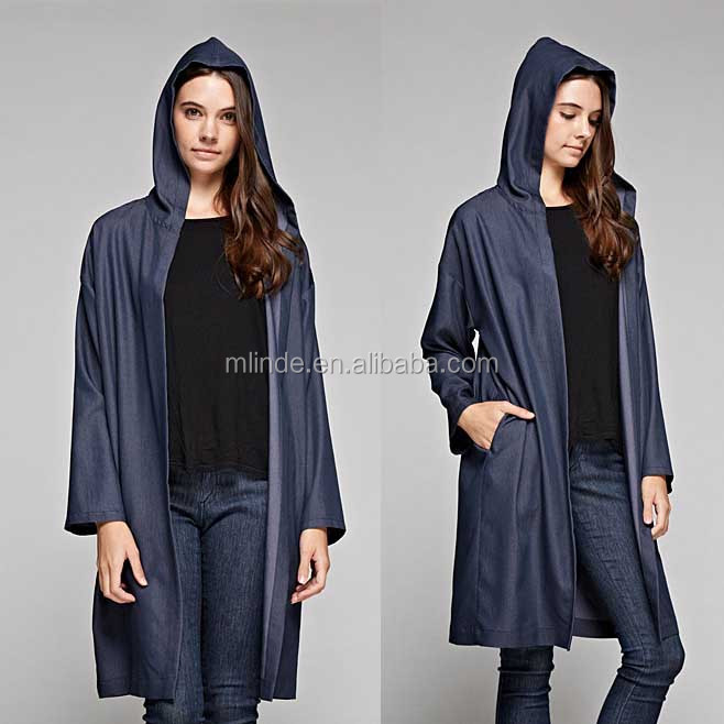 Women Fashion Denim Hooded Open Cardigan Wholesale Custom Manufacturer China Agent Long Sleeve Cardigan Wholesale CUSTOM