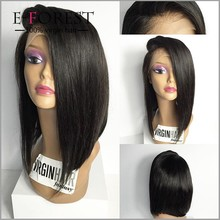 "12"" black straight bob style remy indian human hair short lace wigs for black women"