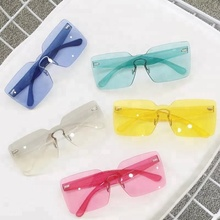 Assorted Colors Rimless Frame Women China Factory Sun Glasses Transparent Sunglasses
