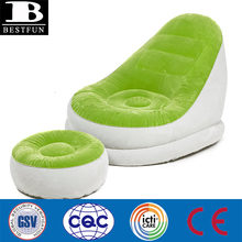 Single flocked PVC hardwearing Inflatable sofa and foot stool comfortable advertising lounge sofa set