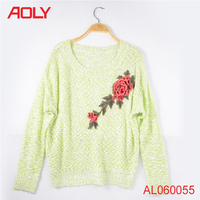 beautiful flower embroidery design popular pullover women cozy handmade knitting sweaters