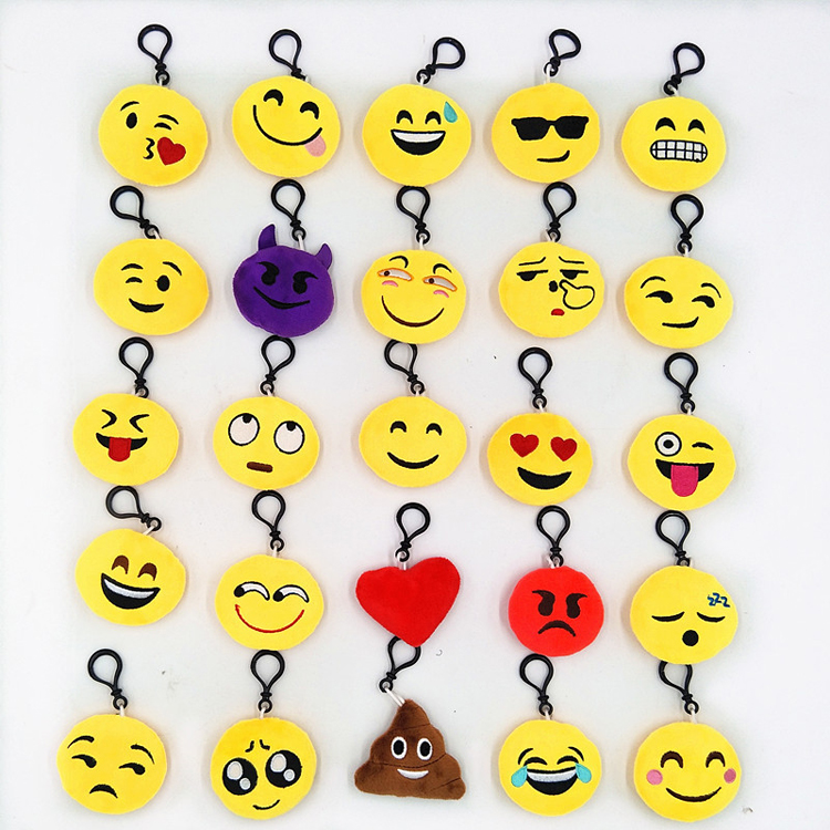 25 different 6cm small emoji keychain stuffed <strong>plush</strong>