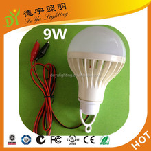 DC12V E27 9W LED Plastic Bulb with Clamps and Connection Cable for Solar System