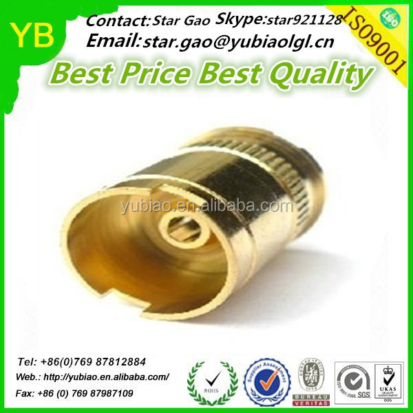 High precision cnc machining 510 battery connector with gold color,machined cnc 510 connector for electronic cigarette
