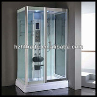 HTSR-9009 pure computerized build in seat sliding glass bathroom steam shower room