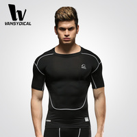Men Fitness Tights Short-sleeve Compression Running T-shirts Workout Stretch Sportswear Wholesale