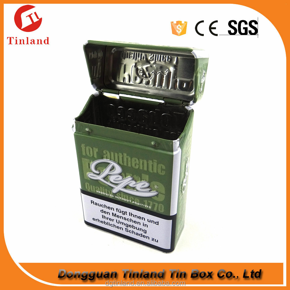 High Quality Hinged Tobacco Cigarette Pack Tin Box Wholesale