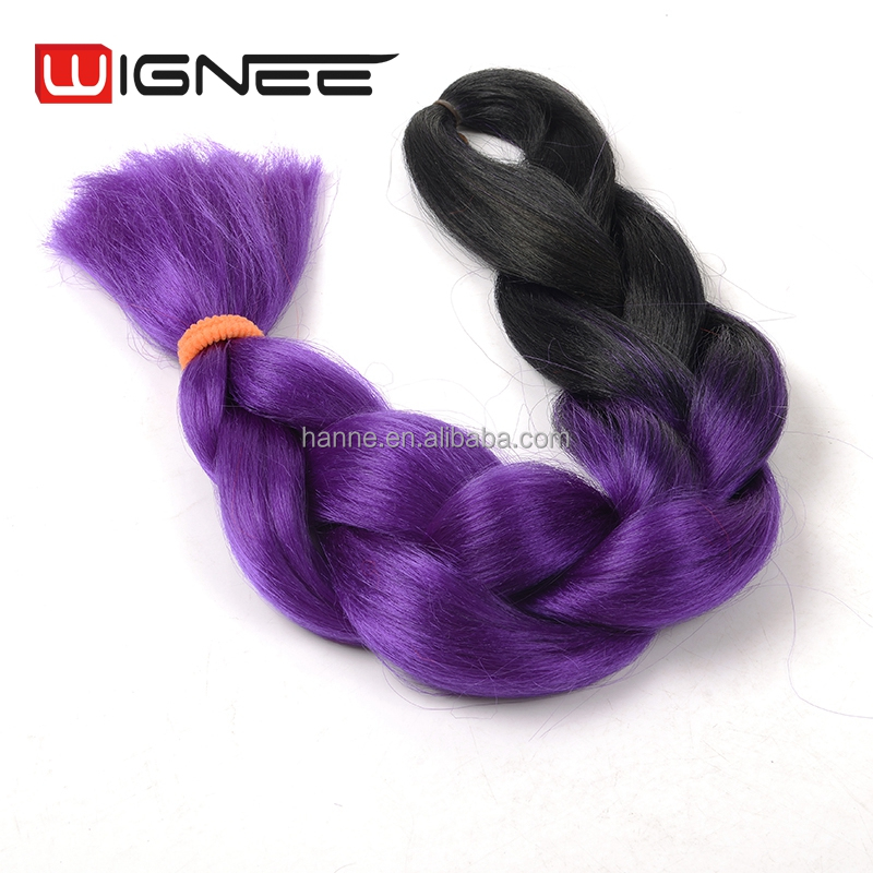 2 Tones Ombre Color Black Purple Synthetic Jumbo Braids Hair 24 Inches 100g per Piece wholesale More Colors available