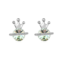 Crown shaped earrings, crystal from swarovski one gram gold earrings designs jewelry