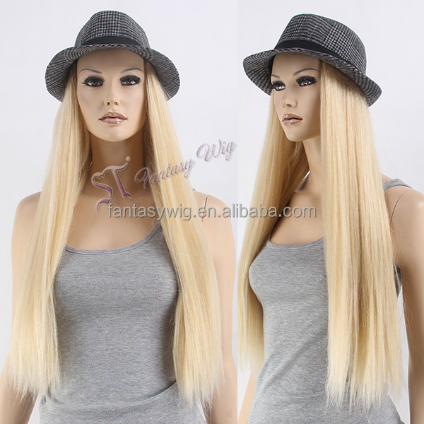 2017 newest synthetic hair blonde hat wig secret long hat wig for bald women