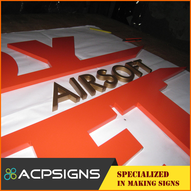 Factory make gold plated metal sign letters in zinc alloy