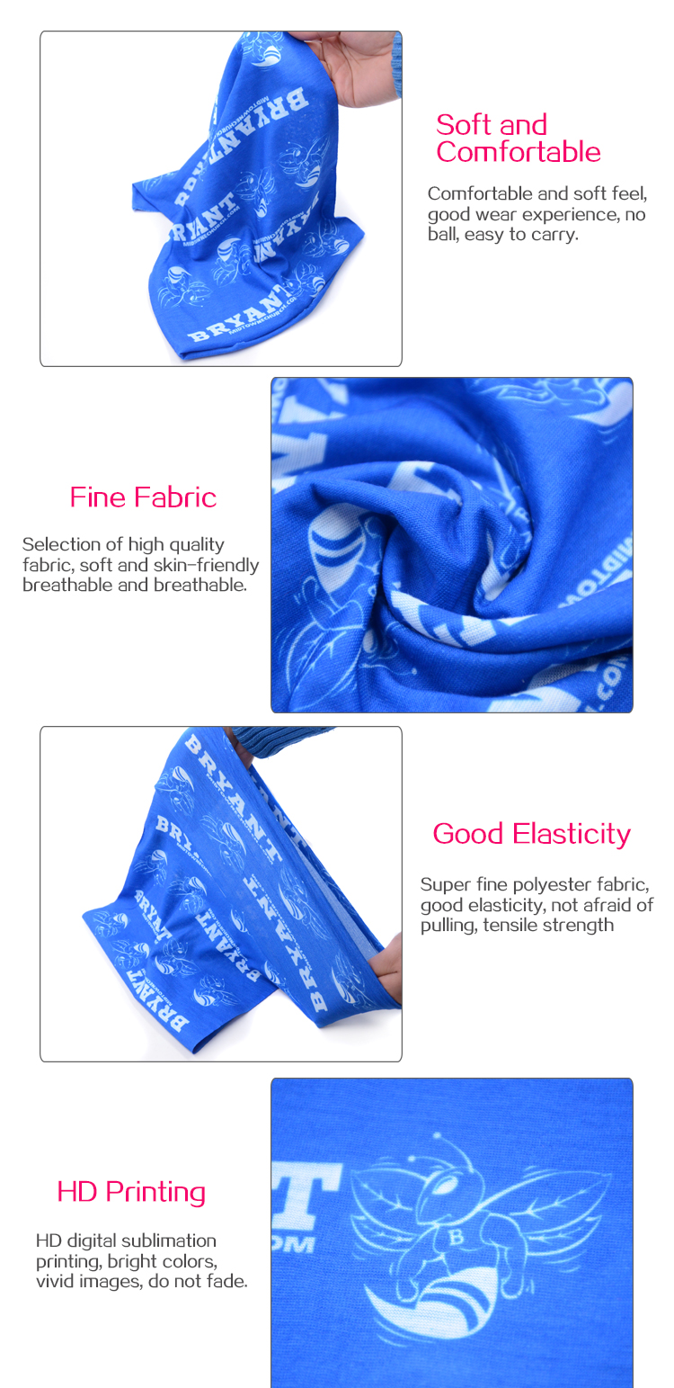 Multifunctional microfiber magic tube headwear bandana with customized pattern