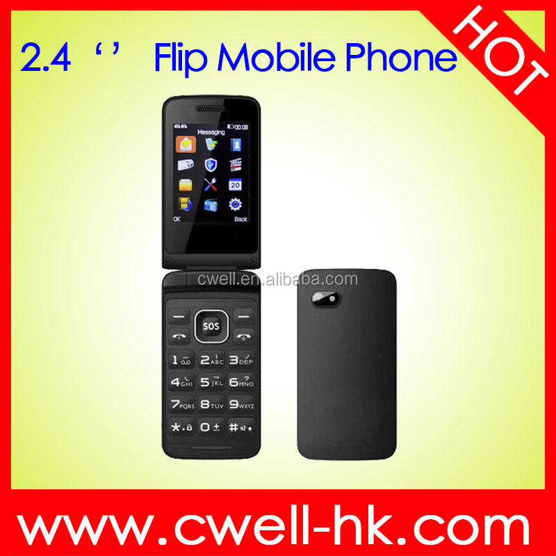 2.4 Inch TFT Screen Dual SIM card Big Button Loudspeaker Flip style Folding China Mobile Phone i5 good holder