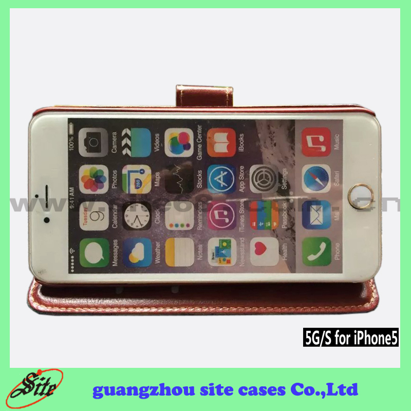 Hot sale phone case,OEM/ODM For iphone 5 smart phone wallet style leather case