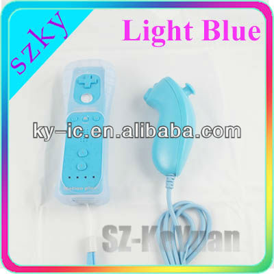 Light blue Game Motion plus remote controller for Wii console