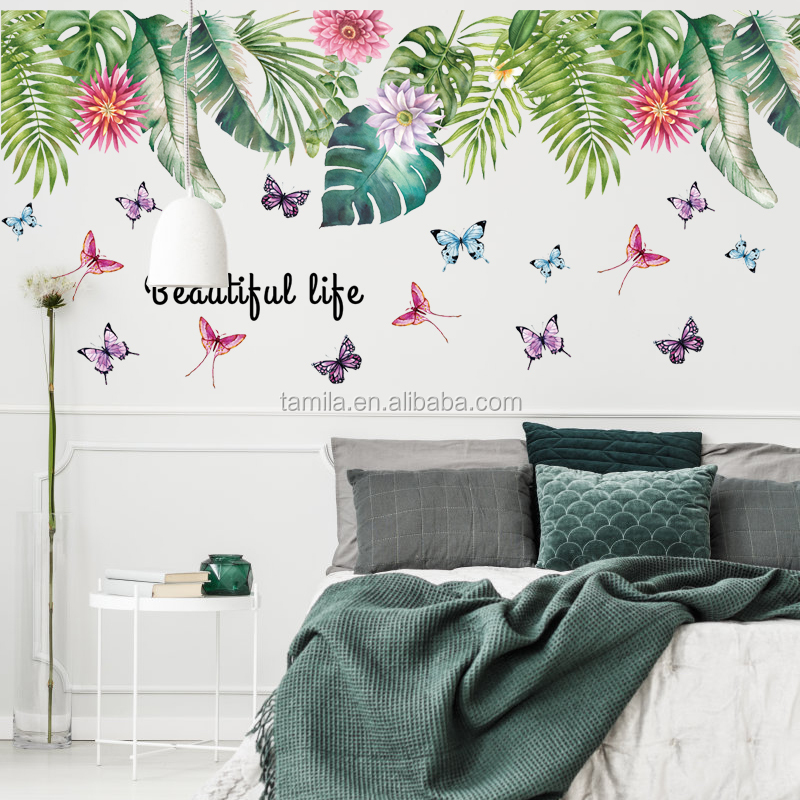 Green leaf butterfly skirting line art wall sticker for kids decor living room children room removable waterproof pvc decals