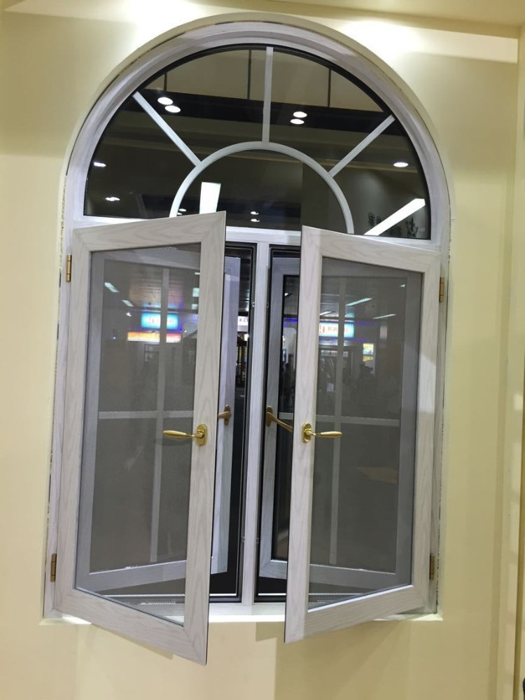 White color aluminium arch windows grills design with for Window design with arch