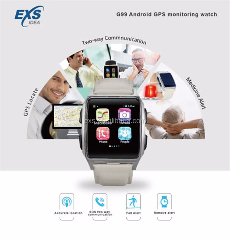 800mAh battery Android 5.1 APP Server monitoring sos gps medicine alert heart rate bp 3g android smart watch