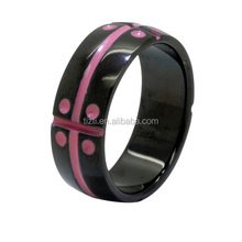 8mm Titanium Stainless Steel Pink Enamel Gay Lesbian Wedding Engagement Promise Band Ring
