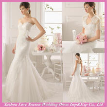 WD9148 2016 elegant new style mermaid handmade flower with detachable lace jacket white mermaid lace wedding dress sleeves