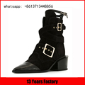 Elegant pointed toe and strap buckle with womens genuine suede boots