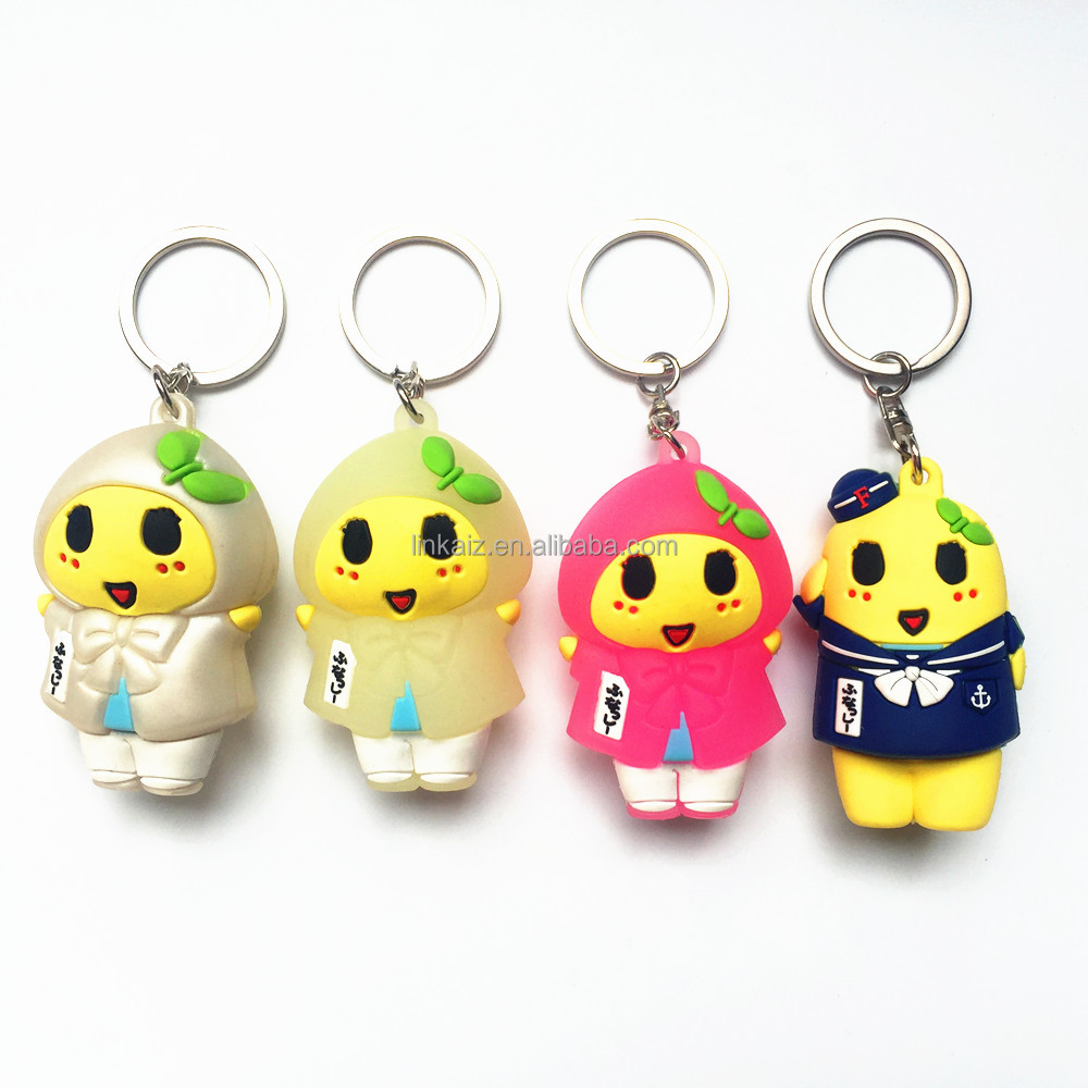 Real custom 3D rubber key chain from china manufacturer