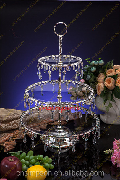 Round glass 3 tiers fruit/dessert/cupcake display stand with crystal hanging for wedding table decor