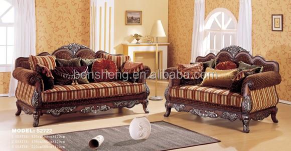 S2722 Guangdong Furniture Antique Living Room Sofa Set Wooden Frame Designs