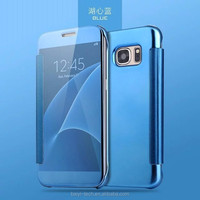 Electroplating Mirror Flip Cover Clear View Mobile Phone Case Touch Sensitive for iphone 8 8plus X