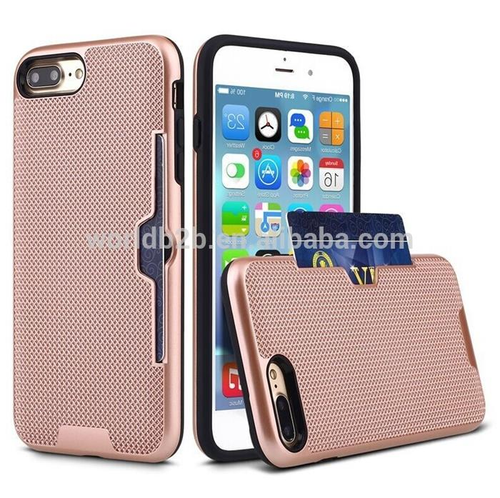 2 in 1 Shockproof Knit Mesh PC+TPU Card Stroage Case for iPhone 7