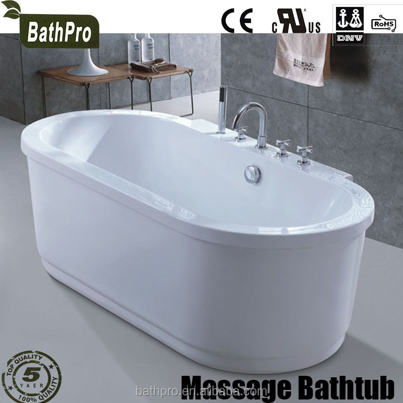 Freestanding Center Drain Location and Acrylic Material massage SPA Bathtub