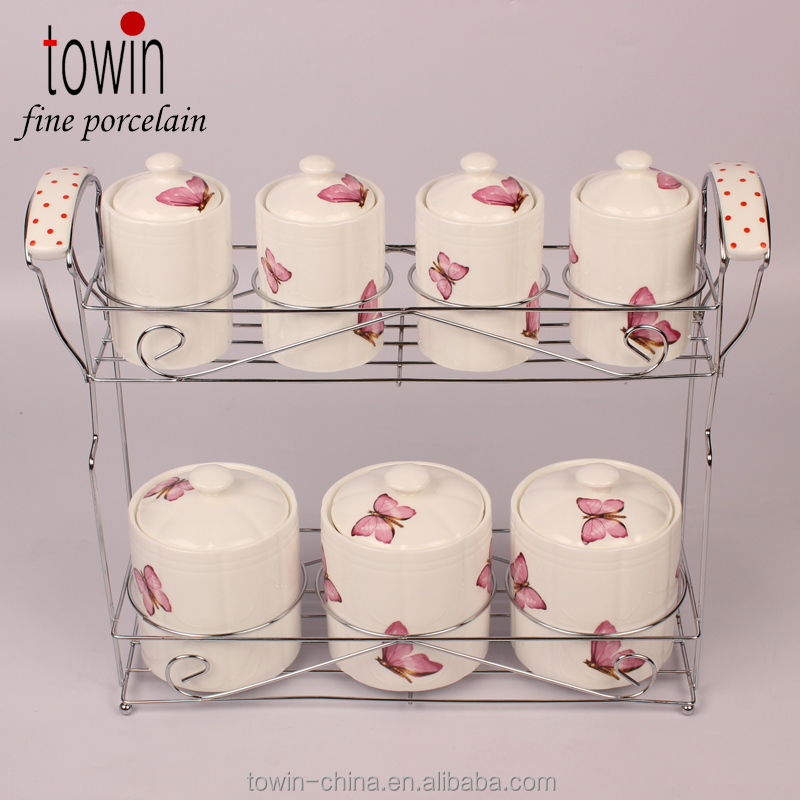 new bone china canister for kitchen ware